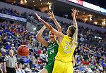 SIOUX FALLS, SD - MARCH 7: Julia Fleecs #24 of the North Dakota Fighting Hawks drives to the hoop between the South Dakota State Jackrabbits defense at the 2020 Summit League Basketball Championship in Sioux Falls, SD. (Photo by Richard Carlson/Inertia)