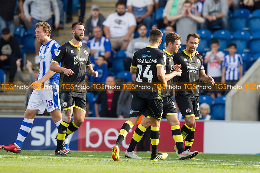 Filipe Morais of Crawley Town is congratulated by team mates following his penalty conversion to level the scores during Colchester United vs Crawley Town, Sky Bet EFL League 2 Football at the JobServe Community Stadium on 13th October 2018