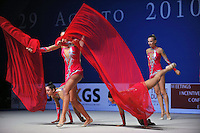 Rhythmic group from Italy performs gala at 2010 Pesaro World Cup on August 29, 2010 at Pesaro, Italy.  Photo by Tom Theobald.