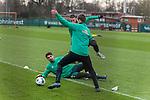 17.01.2020, Trainingsgelaende am wohninvest WESERSTADION,, Bremen, GER, 1.FBL, Werder Bremen Training ,<br /> <br /> <br />  im Bild<br /> <br /> Stefanos Kapino (Werder Bremen #27)<br /> Marco Friedl (Werder Bremen #32)<br /> Sebastian Langkamp (Werder Bremen #15)<br /> <br /> <br /> Foto © nordphoto / Kokenge