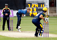 Calum Haggett bowls for Kent during the Royal London One Day Cup game between Kent and Glamorgan at the St Lawrence Ground, Canterbury, on May 25, 2018