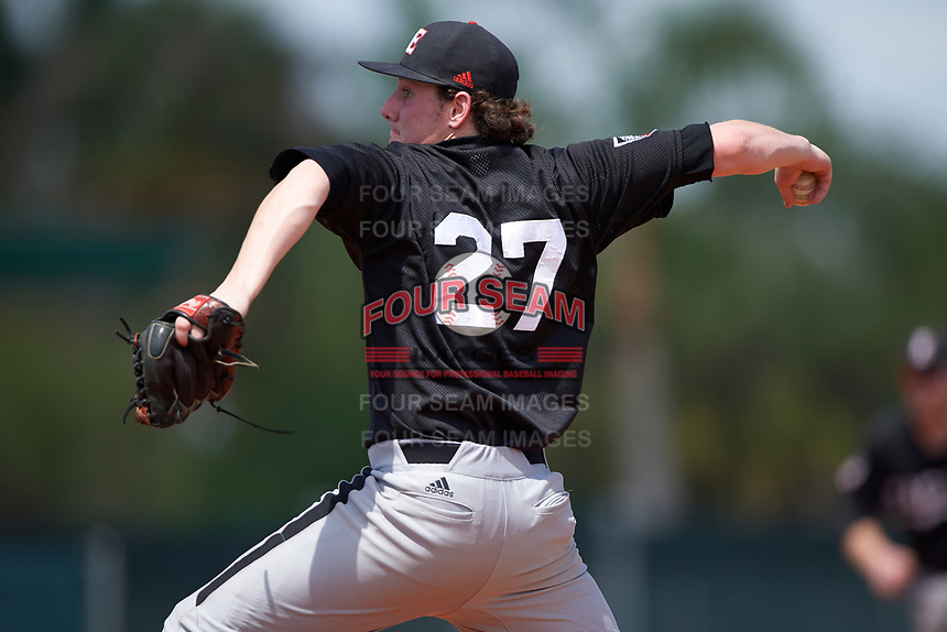 Edgewood Eagles pitcher Andy Swanson (27) delivers a pitch during the second game of a doubleheader against the Lasell Lasers on March 14, 2016 at Terry Park in Fort Myers, Florida.  Edgewood defeated Lasell 10-2.  (Mike Janes/Four Seam Images)