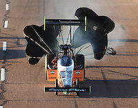Feb 24, 2017; Chandler, AZ, USA; NHRA top fuel driver Clay Millican during qualifying for the Arizona Nationals at Wild Horse Pass Motorsports Park. Mandatory Credit: Mark J. Rebilas-USA TODAY Sports