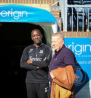 Southend United manager Chris Powell and Bill Turnbull pre match during the Sky Bet League 1 match between Wycombe Wanderers and Southend United at Adams Park, High Wycombe, England on 29 September 2018. Photo by Andy Rowland / PRiME Media Images.