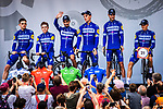 Julian Alaphilippe (FRA) and Deceuninck-Quick Step introduced on stage at the Team Presentation before Stage 1 of the Deutschland Tour 2019, running 167km from Hannover to Halberstadt, Germany. 29th August 2019.<br /> Picture: ASO/Henning Angerer | Cyclefile<br /> All photos usage must carry mandatory copyright credit (© Cyclefile | ASO/Henning Angerer)