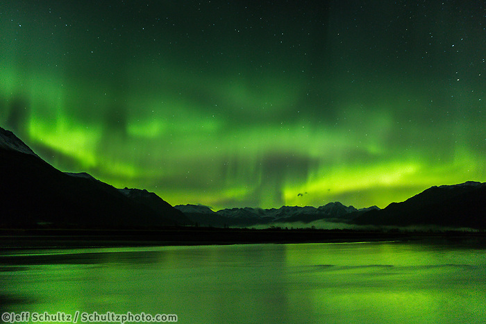 Fall/Autmum nightime landscape of Aurora/Northern Lights over Chugach Mountains with Twenty Mile River in Foreground.  Southcentral, Alaska  October 2017  <br /> <br /> Photo by Jeff Schultz/SchultzPhoto.com  (C) 2017  ALL RIGHTS RESERVED
