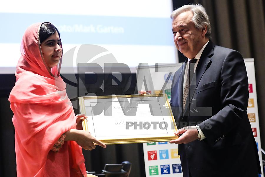 NEW YORK, NY, 10.04.2017 - MALALA-YOUSAFZAI - A ativista paquistanesa Malala Yousafzai acompanhado do português António Guterres, secretário-geral das Organização das Nações Unidas (ONU) durante cerimônia de sua designação como mensageiro das Nações Unidas da Paz com um foco especial na educação das meninas evento na sede das Nações Unidas em New York na tarde desta segunda-feira, 10. A função é a maior honra concedida por um líder da organização a um cidadão do mundo. (Foto: William Volcov/Brazil Photo Press)