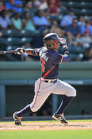 Shortstop Kevin Josephina (39) of the Rome Braves bats in a game against the Greenville Drive on Sunday, July 31, 2016, at Fluor Field at the West End in Greenville, South Carolina. Rome won, 6-3. (Tom Priddy/Four Seam Images)