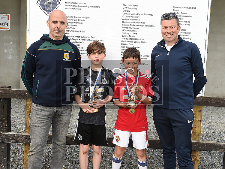 Ardee Celtic's U-10 players of the year Luke McCartney and Eoghan McEneaney with U-10 coaches David Halpenny and Eugene McEneaney. Photo:Colin Bell/pressphotos.ie