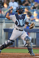 Corpus Christi Hooks catcher Chuckie Robison (15) in action against the Tulsa Drillers at Oneok Stadium on May 4, 2019 in Tulsa, Oklahoma.  The Hooks won 9-7.  (Dennis Hubbard/Four Seam Images)