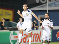 LA Galaxy midfielder Landon Donovan (10) celebrates his goal from a penalty kick in the 58th minute of the game. LA Galaxy defeated DC United 2-1 at RFK Stadium, Saturday July 18, 2010.