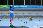 An RUS athlete competes during a Biathlon training as part of the Trentino 2013 Winter Universiade Italy on 12/12/2013 in Lago Di Tesero, Italy.<br /> <br /> &copy; Pierre Teyssot - www.pierreteyssot.com