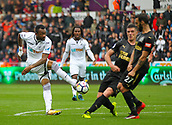 10th September 2017, Liberty Stadium, Swansea, Wales; EPL Premier League football, Swansea versus Newcastle United; Jordan Ayew of Swansea City shoots at goal during the match