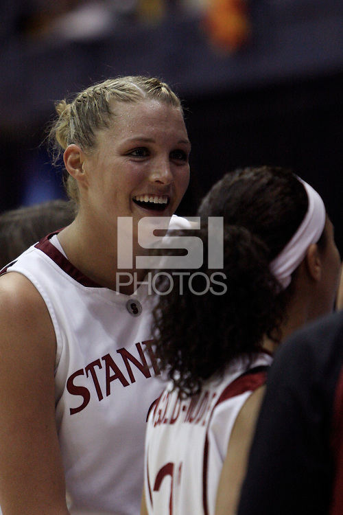 BERKELEY, CA - MARCH 30: Jayne Appel smiles during Stanford's 74-53 win against the Iowa State Cyclones on March 30, 2009 at Haas Pavilion in Berkeley, California.