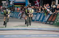 Team Mitchelton-Scott rolling over the finish line<br /> <br /> UCI WOMEN&lsquo;S TEAM TIME TRIAL<br /> Ötztal to Innsbruck: 54.5 km<br /> <br /> UCI 2018 Road World Championships<br /> Innsbruck - Tirol / Austria