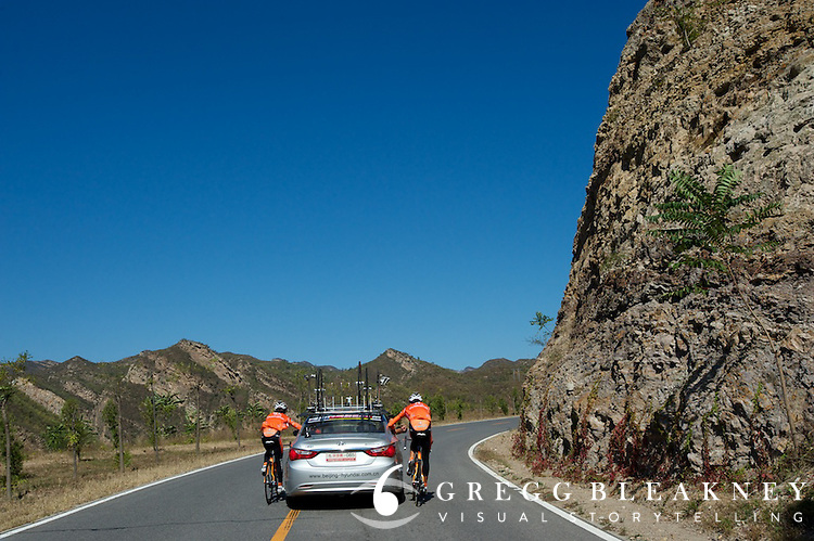 These Euskaltel cyclists figured that they'd had enough climbing on the day.