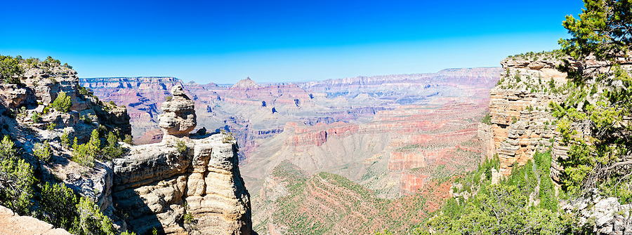 Panoramic view of South Rim in Grand Canyon, National Park. This is a 35 MP image composed of more than 10 individual shots. The Grand Canyon is a steep-sided gorge carved by the Colorado River in the United States in the state of Arizona. This is  one of the first national parks in the United States