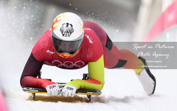 Anna Fernstaedt (GER). Womens skeleton training. Pyeongchang2018 winter Olympics. Alpensia sliding centre. Alpensia. Gangneung. Republic of Korea. 12/02/2018. ~ MANDATORY CREDIT Garry Bowden/SIPPA - NO UNAUTHORISED USE - +44 7837 394578