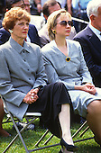 Joan Mondale, left, and first lady Hillary Rodham Clinton look on as U.S. President Bill Clinton names former U.S. Vice President Walter Mondale as the U.S. Ambassador to Japan in the Rose Garden of the White House in Washington, D.C. on June 11, 1993. <br /> Mrs. Mondale passed away on February 3, 2014.<br /> Credit: Howard L. Sachs / CNP
