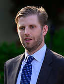 "Eric Trump arrives prior to United States President Donald J. Trump presenting the Presidential Medal of Freedom to professional golfer Tiger Woods in the Rose Garden of the White House in Washington, DC on May 6, 2019.  The Presidential Medal of Freedom is an award bestowed by the President of the United States to recognize those people who have made ""an especially meritorious contribution to the security or national interests of the United States, world peace, cultural or other significant public or private endeavor.""<br /> Credit: Ron Sachs / CNP"