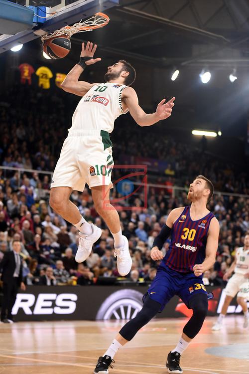 Turkish Airlines Euroleague 2018/2019. <br /> Regular Season-Round 18.<br /> FC Barcelona Lassa vs Panathinaikos Opap Athens: 79-68.<br /> Ioannis Papapetrou vs Victor Claver.