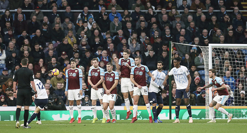 Everton's Lucas Digne scores his side's second goal from a free-kick<br /> <br /> Photographer Rich Linley/CameraSport<br /> <br /> The Premier League - Burnley v Everton - Wednesday 26th December 2018 - Turf Moor - Burnley<br /> <br /> World Copyright © 2018 CameraSport. All rights reserved. 43 Linden Ave. Countesthorpe. Leicester. England. LE8 5PG - Tel: +44 (0) 116 277 4147 - admin@camerasport.com - www.camerasport.com