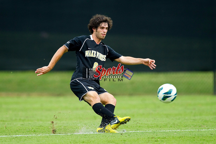 Luciano Delbono (8) of the Wake Forest Demon Deacons during second half action against the  Boston College Eagles at Spry Soccer Stadium on October 6, 2012 in Winston-Salem, North Carolina.  The Eagles defeated the Demon Deacons 1-0.  (Brian Westerholt/Sports On Film)