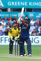 Ashar Zaidi hits six runs for Essex as Steven Davies looks on from behind the stumps during Essex Eagles vs Somerset, NatWest T20 Blast Cricket at The Cloudfm County Ground on 13th July 2017