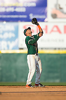 Greensboro Grasshoppers shortstop Justin Twine (1) settles under a fly ball during the game against the Hickory Crawdads at L.P. Frans Stadium on May 6, 2015 in Hickory, North Carolina.  The Crawdads defeated the Grasshoppers 1-0.  (Brian Westerholt/Four Seam Images)