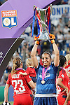 Olympique Lyonnais's Sarah Bouhaddi celebrates the victory in the UEFA Women's Champions League 2015/2016 Final match.May 26,2016. (ALTERPHOTOS/Acero)