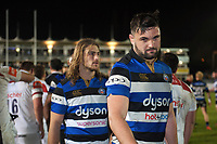 Elliott Stooke and the rest of the Bath Rugby team leave the field. Anglo-Welsh Cup match, between Bath Rugby and Leicester Tigers on November 10, 2017 at the Recreation Ground in Bath, England. Photo by: Patrick Khachfe / Onside Images