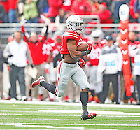 Ohio State Buckeyes running back Ezekiel Elliott (15) heads to the end zone for the Buckeye's first TD against Indiana in the first quarter at Ohio Stadium on 22, 2014. (Chris Russell/Dispatch Photo)