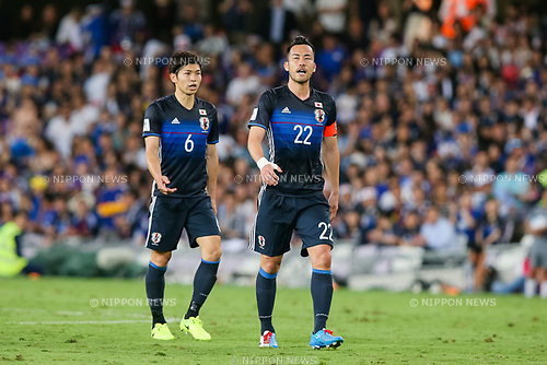 (R-L) Maya Yoshida, Masato Morishige (JPN), MARCH 23, 2017 - Football / Soccer : Maya Yoshida (R) and Masato Morishige of Japan during the FIFA World Cup Russia 2018 Asian Qualifier Group B match between United Arab Emirates and Japan at Hazza Bin Zayed Stadium in Al Ain, United Arab Emirates. (Photo by AFLO)