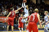 GRONINGEN - Basketbal, Donar - Feyenoord, Dutch Basketbal league, seizoen 2018-2019, 28-10-2018, score van Donar speler Teddy Gipson tegen Feyenoord speler Michael Kok
