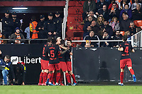 14th February 2020; Mestalla, Valencia, Spain; La Liga Football,Valencia versus Atletico Madrid; Marcos Llorente of Atletico Madrid celebrates with his team mates after scoring in minute 15' the first goal for his team 0-1