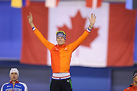 SPEEDSKATING: CALGARY: 14-11-2015, Olympic Oval, ISU World Cup, Podium Men 1000m, winner Gerben Jorritsma (NED), ©foto Martin de Jong