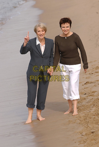 "HELEN MIRREN, JULIE WALTERS.""Calendar Girls"" Photocall, Cannes Beach.Cannes Film Festival 2003.www.capitalpictures.com.sales@capitalpictures.com.©Capital Pictures"