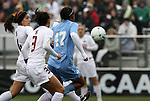 06 December 2009: North Carolina's Jessica McDonald (47) scores the game's only goal, getting in behind Stanford's Ali Riley (3) and Alina Garciamendez (4). The University of North Carolina Tar Heels defeated the Stanford University Cardinal 1-0 at Aggie Soccer Stadium in College Station, Texas in the NCAA Division I Women's College Cup Championship game.