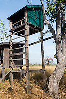 Obsertation towers at the Veal Krous Vulture Restaurant. (Cambodia)
