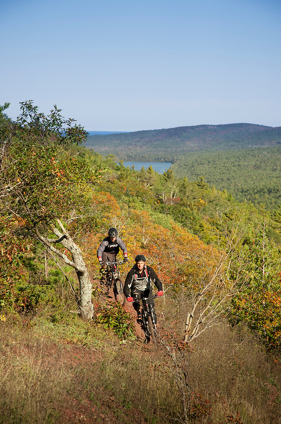 Riding the On the Edge trail while ountain biking in Copper Harbor Michigan Michigan's Upper Peninsula.