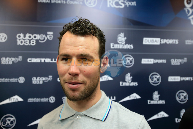 Mark Cavendish (GBR) Omega Pharma-Quick Step at a press conference held before the inaugural Dubai Tour 2014 in the Dubai World Trade Centre, Dubai. 4th February 2014.<br /> Picture: Eoin Clarke www.newsfile.ie
