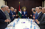 Palestinian President Mahmoud Abbas, chairs Executive Committee meeting,  in the West Bank city of Ramallah, on October 03, 2019. Photo by Thaer Ganaim