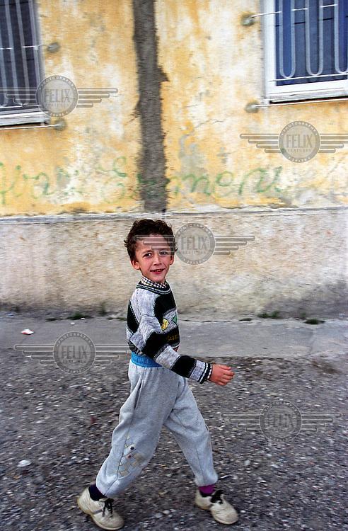 Boy in street.