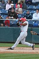 Sherman Lacrus (3) of the Spokane Indians bats during a game against the Everett AquaSox at Everett Memorial Stadium on July 25, 2015 in Everett, Washington. Spokane defeated Everett, 10-1. (Larry Goren/Four Seam Images)