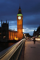 Big Ben, 1858, clock tower of Palace of Westminster or Houses of Parliament, London, UK, 1840-60, by Sir Charles Barry and Augustus Pugin, seen from Westminster Bridge, road and foot traffic bridge, 1862, Thomas Page and Charles Barry. Picture by Manuel Cohen