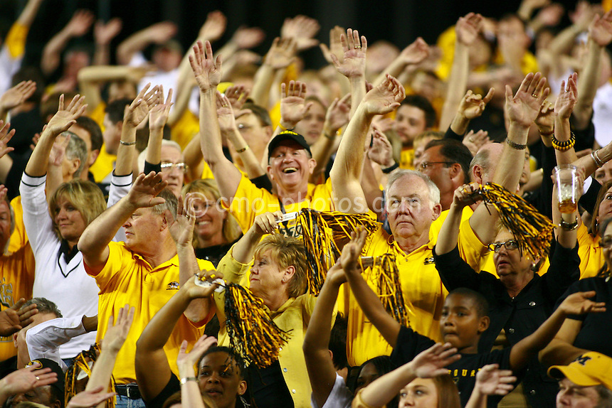 Mar 26, 2009; Tucson, AZ, USA; Missouri Tigers fans hold up their hands during a break in the second half of a game against the Memphis Tigers in the semifinals of the west region of the 2009 NCAA basketball tournament at University of Phoenix Stadium.    Missouri defeated Memphis 102-91.