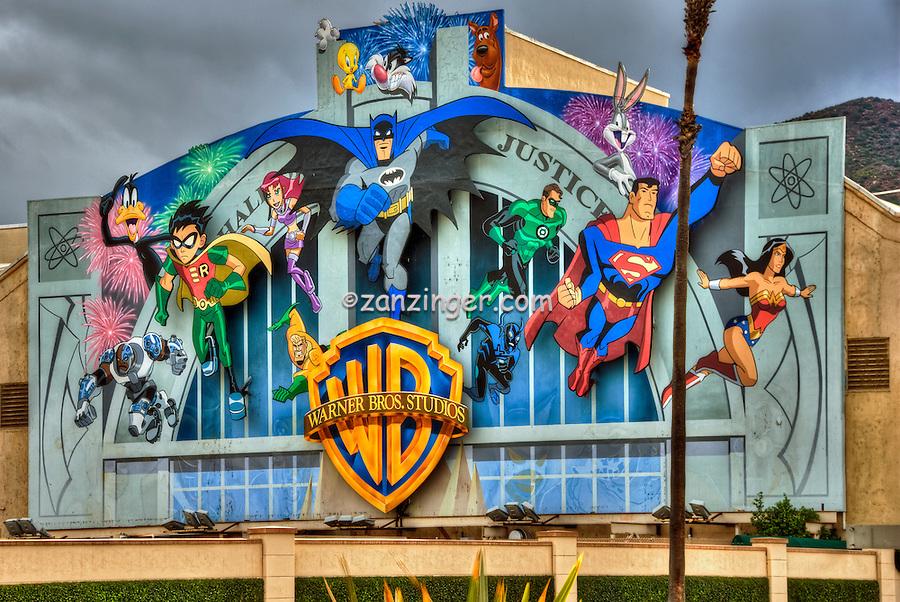 Warner Brothers Studios Comic Book heroic characters Burbank CA, California, Studios, ,Super Hero's Warner Bros. Burbank, CA