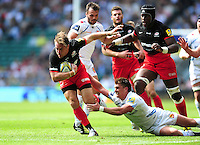 Chris Wyles of Saracens looks to get past Henry Slade of Exeter Chiefs. Aviva Premiership Final, between Saracens and Exeter Chiefs on May 28, 2016 at Twickenham Stadium in London, England. Photo by: Patrick Khachfe / JMP