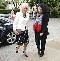 17 May 2016 - London, England - Camilla Duchess of Cornwall (left, who is a patron of the charity) is greeted by Sylvie Bermann, France's Ambassador to the UK, upon arriving for a reception to celebrate the 25th anniversary of Emmaus UK - which supports former homeless people by giving them a home within one of its Emmaus Communities - at the French Ambassador's Residence in Kensington, London. Photo Credit: ALPR/AdMedia