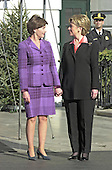 Washington, DC - December 18, 2000 -- First Lady Hillary Rodham Clinton welcomes incoming First Lady Laura Bush to the White House in Washington, D.C. on December 18, 2000.<br /> Credit: Ron Sachs / CNP